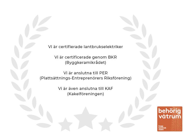 Certifiering BKR, Byggkeramikrådet, PER, Plattsättnings-entreprenörers riksförening, KAF, Kakelföreningen